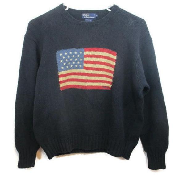 5b703d67fd7b93 VINTAGE Polo Ralph Lauren USA Flag Sweater XL. M 5aa7ae05739d48e7a2351daa